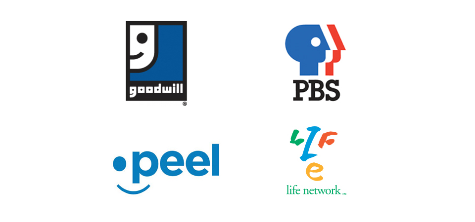 Various logos with faces