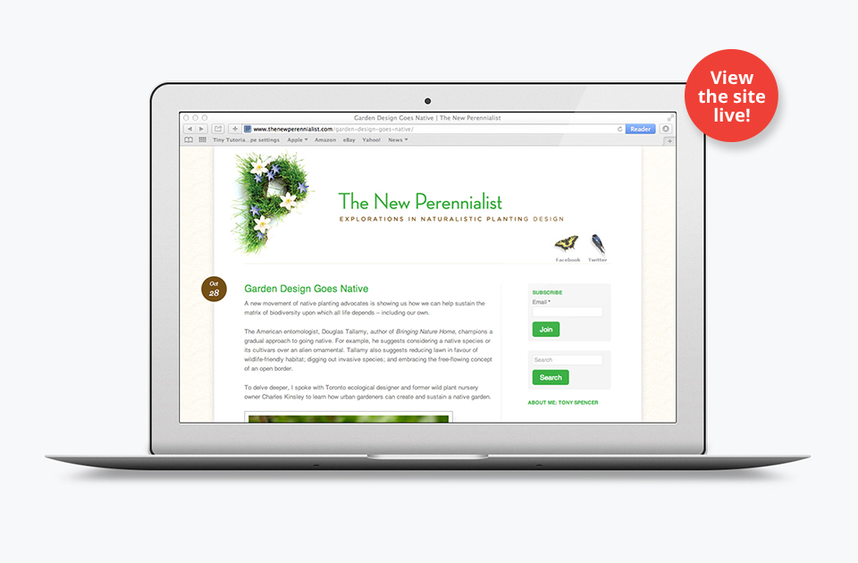 The New Perennialist site on desktop