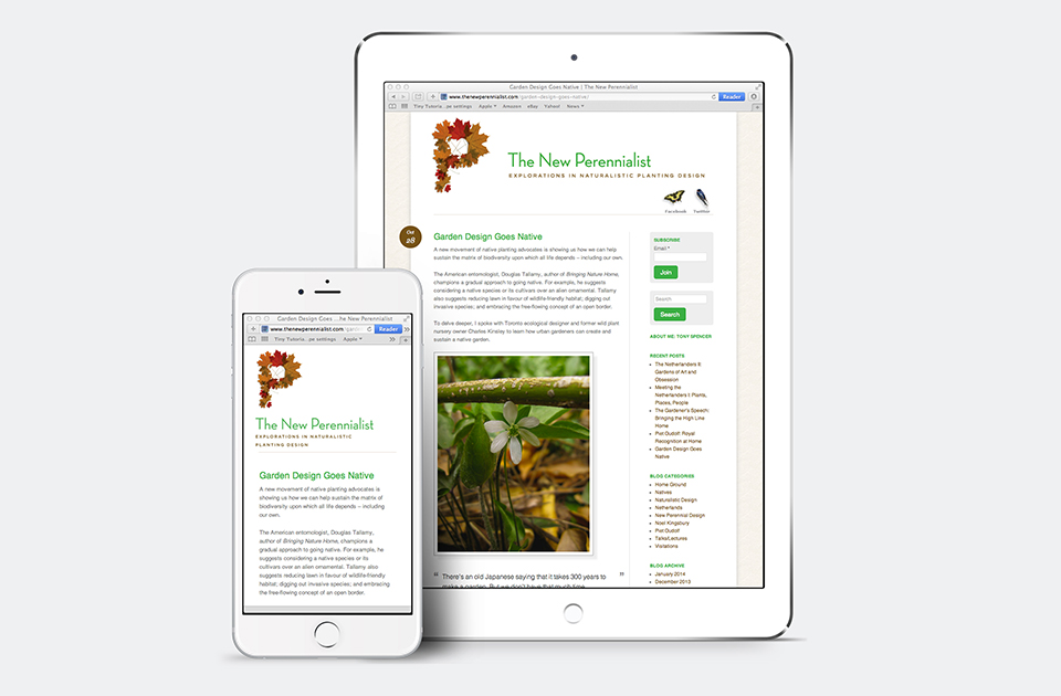 The New Perennialist site on iPhone and iPad